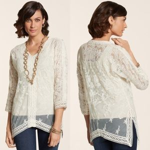 NWT Chico's Beautiful Lace Hailey Top